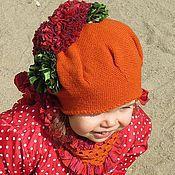 Работы для детей, handmade. Livemaster - original item a set of warm (cashmere) orange hat and scarf for girl. Handmade.