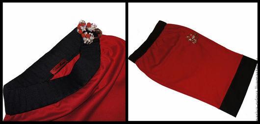 Юбки ручной работы. Ярмарка Мастеров - ручная работа. Купить Юбка трикотажная. Handmade. Ярко-красный, стильная юбка, юбка
