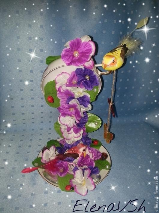 Топиарии ручной работы. Ярмарка Мастеров - ручная работа. Купить Цветочная чашка Летняя нежность. Handmade. Цветочная чашка