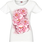 Одежда handmade. Livemaster - original item T-shirt with painted flowers and