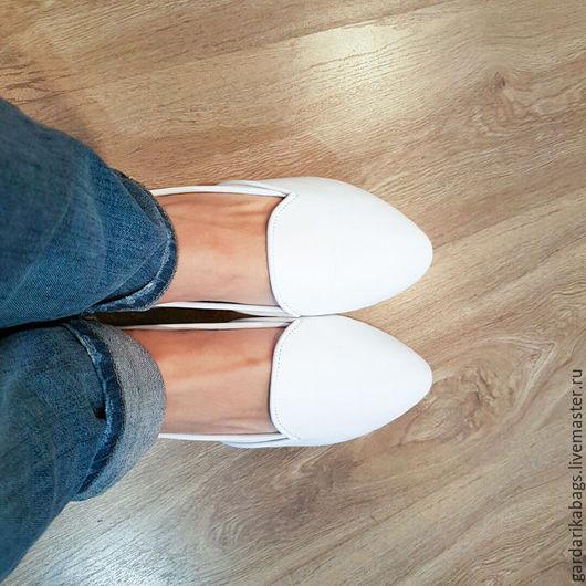 Обувь ручной работы. Ярмарка Мастеров - ручная работа. Купить Туфли из кожи белые. Handmade. Белый, туфли летние