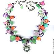 Украшения handmade. Livemaster - original item Necklace with amethyst, agate, charoite, rhodonite, fluorites etc.. Handmade.
