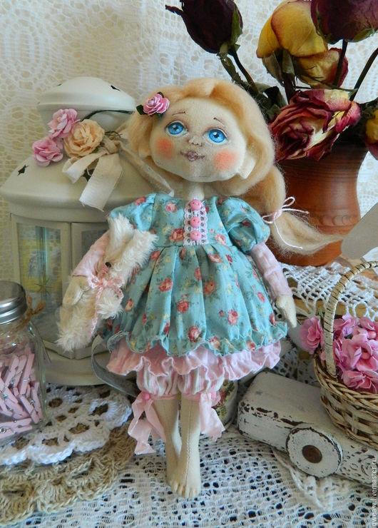 Коллекционные куклы ручной работы. Ярмарка Мастеров - ручная работа. Купить Текстильная авторская кукла. Handmade. Голубой, кукла интерьерная