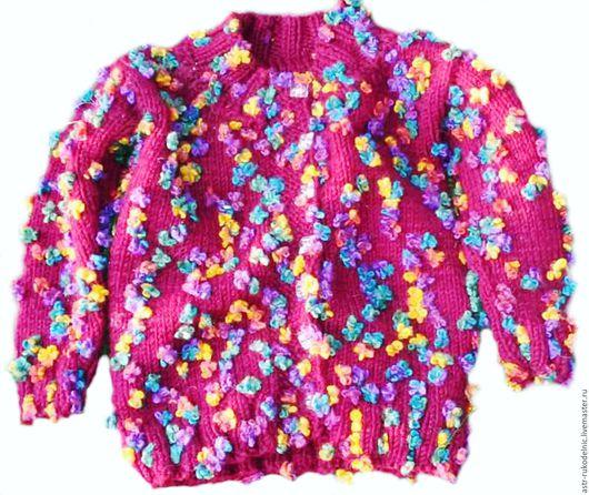 Одежда для девочек, ручной работы. Ярмарка Мастеров - ручная работа. Купить Теплая вязаная кофта для девочки. Handmade. Фуксия, бордо