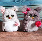 Куклы и игрушки handmade. Livemaster - original item Owls with flowers toy made of wool. Handmade.