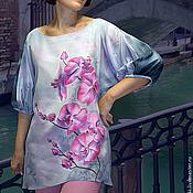 """Одежда ручной работы. Ярмарка Мастеров - ручная работа Блуза шелковая """"Орхидеи"""" батик. Handmade."""