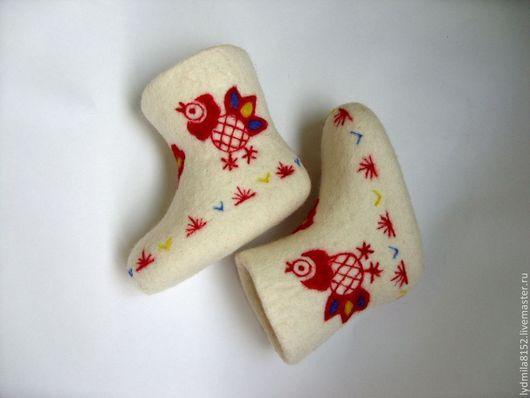 """Обувь ручной работы. Ярмарка Мастеров - ручная работа. Купить Валенки детские """"Петушки"""". Handmade. Детские валенки, петушки, петухи"""