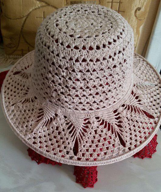 Шляпы ручной работы. Ярмарка Мастеров - ручная работа. Купить Летняя  шляпка крючком.. Handmade. Шляпка женская, лён