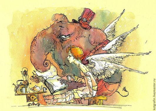 """Юмор ручной работы. Ярмарка Мастеров - ручная работа. Купить """"сказка"""". Handmade. Акварельные карандаши, акварельная картина, акварельный рисунок"""