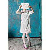Одежда ручной работы. Ярмарка Мастеров - ручная работа Платье из шелкового бархата с зайчиками - белое. Handmade.
