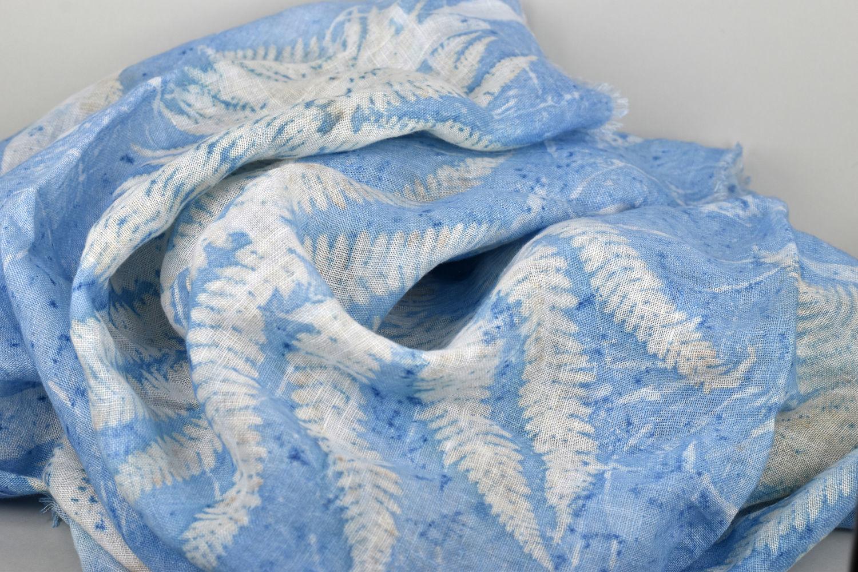 Linen shawl 'the Dream of fern' blue ekoprint, Scarves, Moscow,  Фото №1