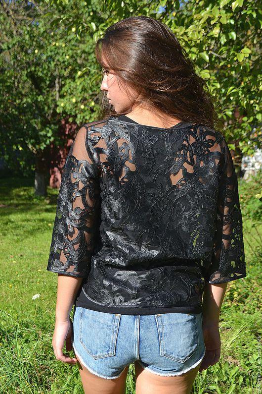 Блузки ручной работы. Ярмарка Мастеров - ручная работа. Купить Блуза из эксклюзивной эко-кожи. Handmade. Черный, Самая красивая