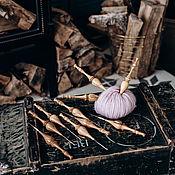 Материалы для творчества handmade. Livemaster - original item Set of iron knitting hooks with wooden handle (10 PCs) KN20. Handmade.