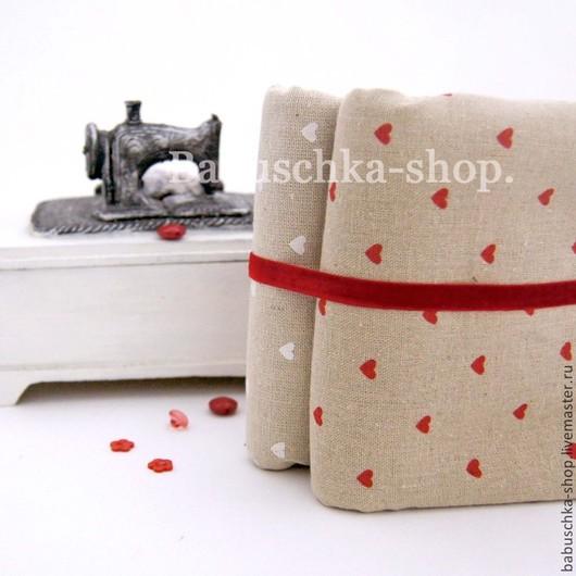 """Куклы и игрушки ручной работы. Ярмарка Мастеров - ручная работа. Купить Ткань лен/хлопок """"В сердце"""". Handmade. Лен"""
