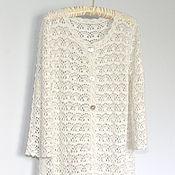 Одежда handmade. Livemaster - original item White Summer Crochet Coat cardigan Lace Cotton Viscose. Handmade.