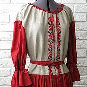 Одежда ручной работы. Ярмарка Мастеров - ручная работа Платье в русском стиле серый лён и красный хлопок. Handmade.