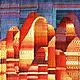 Абстракция ручной работы. Панно Восточный мотив в технике гобелен шерсть/акрил. Мария. Интернет-магазин Ярмарка Мастеров. Разноцветные фигуры