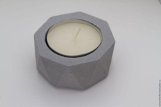 Подсвечники ручной работы. Ярмарка Мастеров - ручная работа. Купить Подсвечник из бетона. Handmade. Серый, бетонный подсвечник, ручная работа