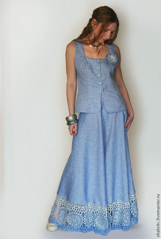 Льняной костюм летний, льняная юбка - полу солнце  с кружевом , юбка в пол, голубая юбка, длинная юбка. автор Юлия Льняная сказка