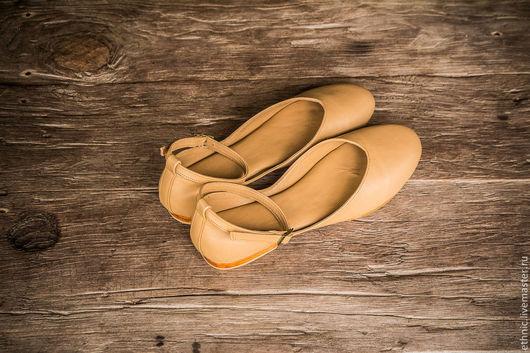 Обувь ручной работы. Ярмарка Мастеров - ручная работа. Купить Балетки кожаные Fluffy. Handmade. Бежевый, туфли женские