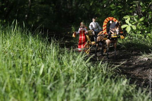 Коллекционные куклы ручной работы. Ярмарка Мастеров - ручная работа. Купить Сельская миниатюра. Handmade. Телега, корзинка с грибами