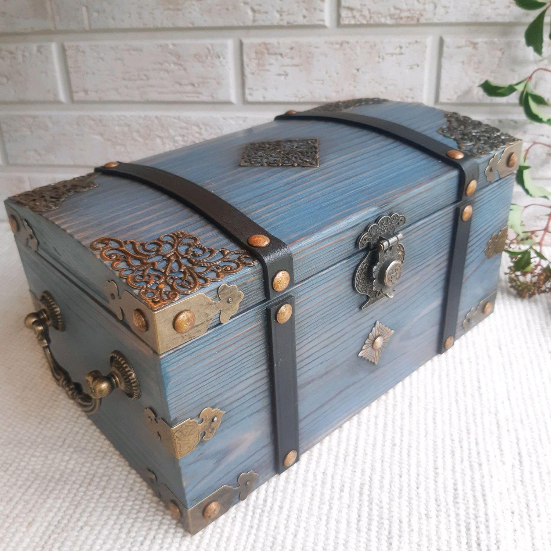 Сундучок серый голубой деревянный шкатулка для мелочей подарок девушке, Шкатулки, Москва,  Фото №1
