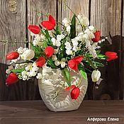 Букеты ручной работы. Ярмарка Мастеров - ручная работа Букет Красные тюльпаны в вазе. Handmade.