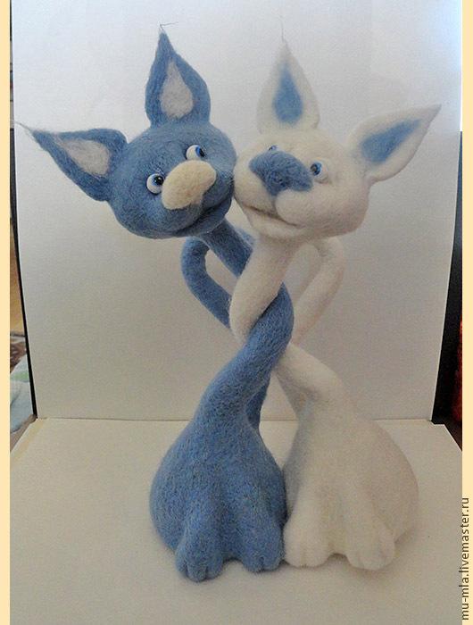 Игрушки животные, ручной работы. Ярмарка Мастеров - ручная работа. Купить Влюбленные облачные коты талисман любви. Handmade.