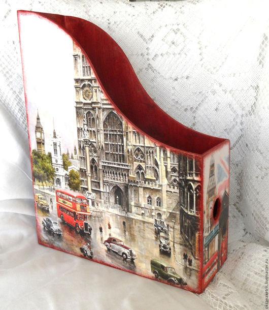 Журнальницы ручной работы. Ярмарка Мастеров - ручная работа. Купить Журнальница Старый Лондон. Handmade. Журнальница, подставка для газет