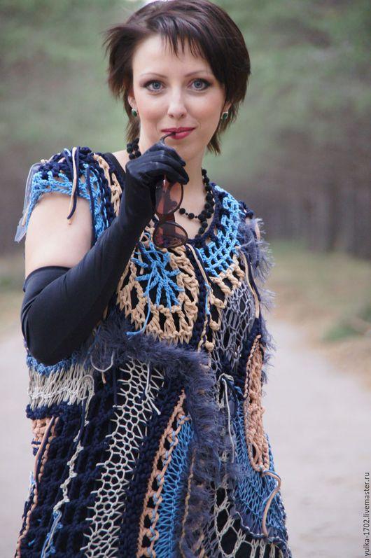 """Платья ручной работы. Ярмарка Мастеров - ручная работа. Купить Платье """"Сирена"""". Handmade. Разноцветный, оригинальный, сетка, полушерстяная пряжа"""
