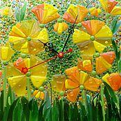 """Для дома и интерьера ручной работы. Ярмарка Мастеров - ручная работа Часы интерьерные из стекла """"Солнцесветы"""". Handmade."""