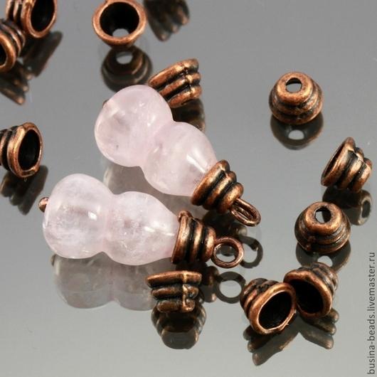Шапочки для бусин в тибетском стиле Пирамидка Мини цвета античная медь для использования в сборке украшений комплектами по 20 штук