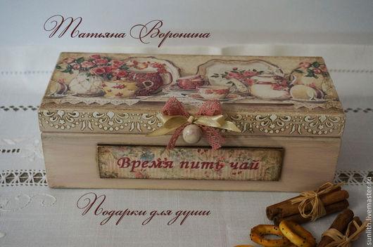 """Кухня ручной работы. Ярмарка Мастеров - ручная работа. Купить Чайный короб""""Розовое настроение"""". Handmade. Бежевый, подарок на день рождения"""