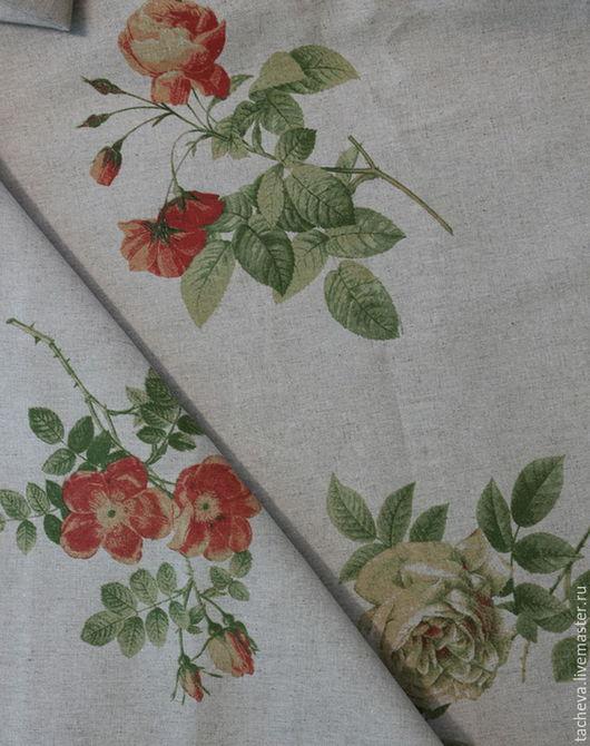 Шитье ручной работы. Ярмарка Мастеров - ручная работа. Купить Ткань льняная- розы из провинции. Handmade. Комбинированный, лен цветной