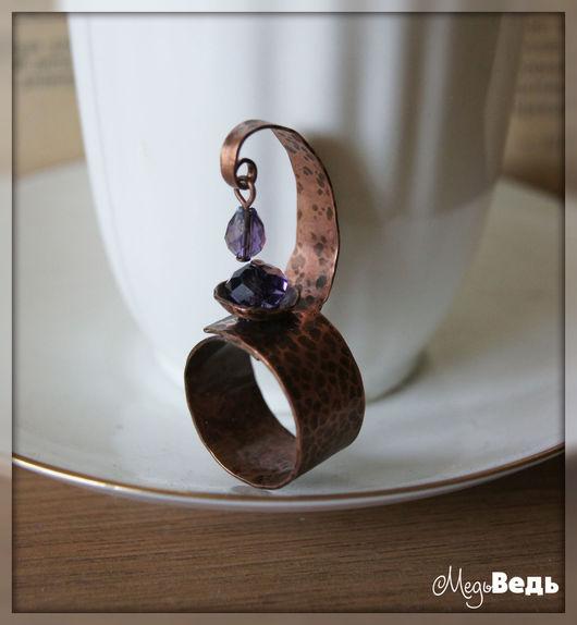 Кольца ручной работы. Ярмарка Мастеров - ручная работа. Купить Медное кольцо. Handmade. Тёмно-фиолетовый, кольцо, медь