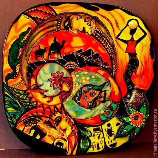 Тарелки ручной работы. Ярмарка Мастеров - ручная работа. Купить Сумерки в Каванго. Handmade. Ручная авторская работа, Роспись по стеклу