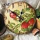 """Часы для дома ручной работы. Ярмарка Мастеров - ручная работа. Купить Часы """"Наливные яблочки"""". Handmade. Часы, подарок"""