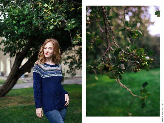 """Кофты и свитера ручной работы. Ярмарка Мастеров - ручная работа. Купить Пуловер """" Аура"""". Handmade. Комбинированный, тёмно-синий"""