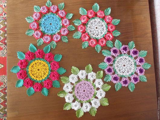 Текстиль, ковры ручной работы. Ярмарка Мастеров - ручная работа. Купить салфетка с цветами. Handmade. Оригинальный подарок, хлопковая пряжа
