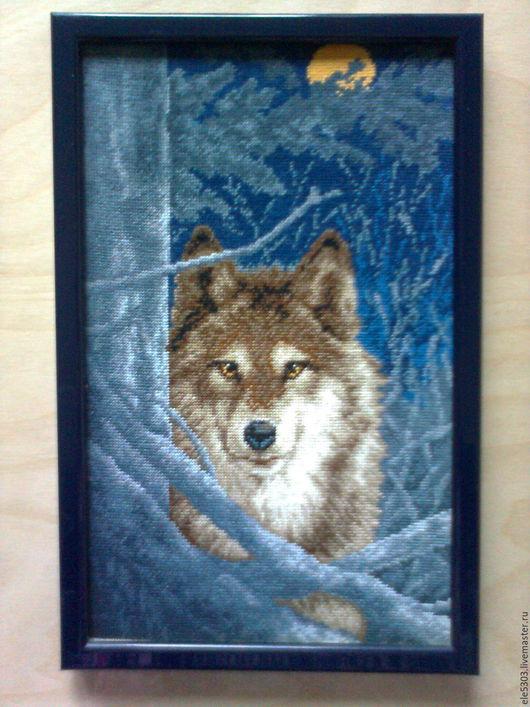 Животные ручной работы. Ярмарка Мастеров - ручная работа. Купить Волк. Handmade. Комбинированный, Гобелен, картина для интерьера, рамка пластиковая