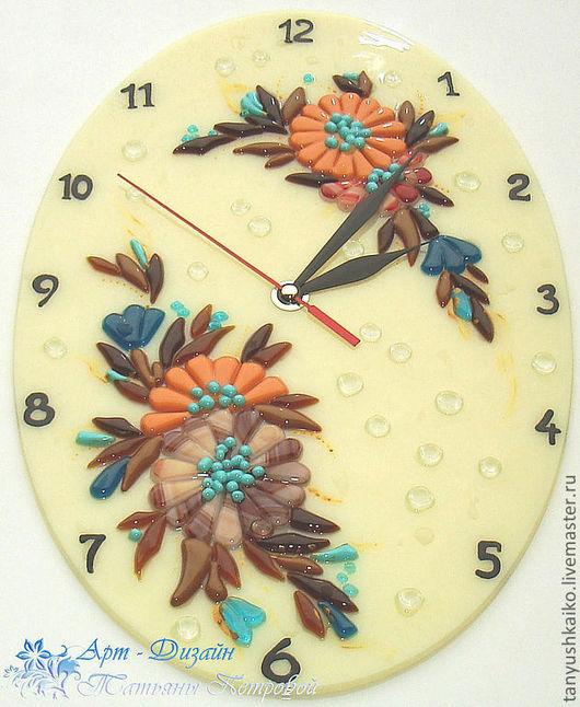Часы для дома ручной работы. Ярмарка Мастеров - ручная работа. Купить часы ЦВЕТОЧНЫЙ СОНЕТ, фьюзинг. Handmade. Настенные часы