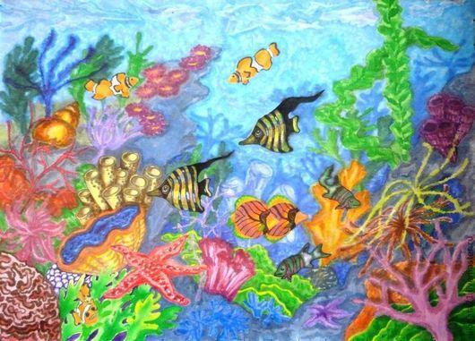 Животные ручной работы. Ярмарка Мастеров - ручная работа. Купить В морских глубинах. Handmade. Синий, рыбы, подарок девушке