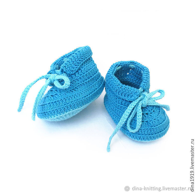 Booties for the boy summer blue as a gift for discharge from the hospital, Babys bootees, Cheboksary,  Фото №1