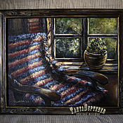 Картины и панно handmade. Livemaster - original item Oil painting in frame by the WINDOW I HAVE the CANVAS. Handmade.
