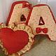 Подушка сердце - 500 руб. Буквы 700-1000 руб.в зависимости от ткани