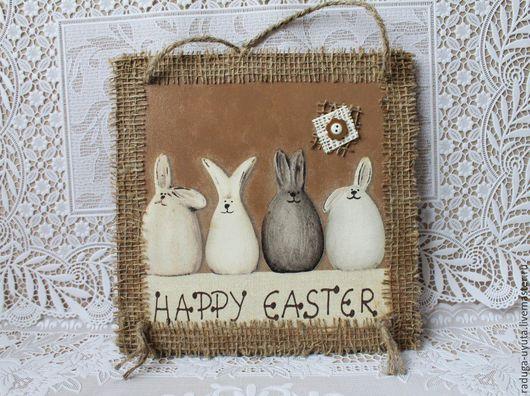 """Животные ручной работы. Ярмарка Мастеров - ручная работа. Купить Панно """"Пасхальные кролики"""". Handmade. Коричневый, панно с кроликами"""