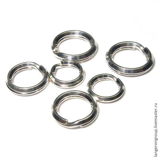 Для украшений ручной работы. Ярмарка Мастеров - ручная работа. Купить Кольца соединительные двойные спиральные круглые. Фурнитура серебро. Handmade.
