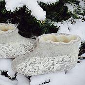 """Обувь ручной работы. Ярмарка Мастеров - ручная работа Чуни """"Зимние кружева"""". Handmade."""