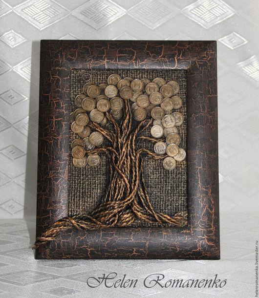 """Подарки для мужчин, ручной работы. Ярмарка Мастеров - ручная работа. Купить Панно """"Денежное дерево"""". Имитация бронзы.. Handmade."""