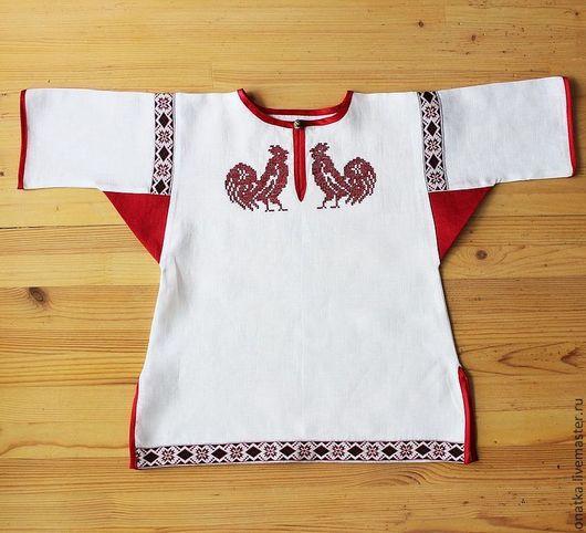 """Этническая одежда ручной работы. Ярмарка Мастеров - ручная работа. Купить Рубашка детская  с вышивкой """"Петушки"""". Handmade. Белый, рубашка"""